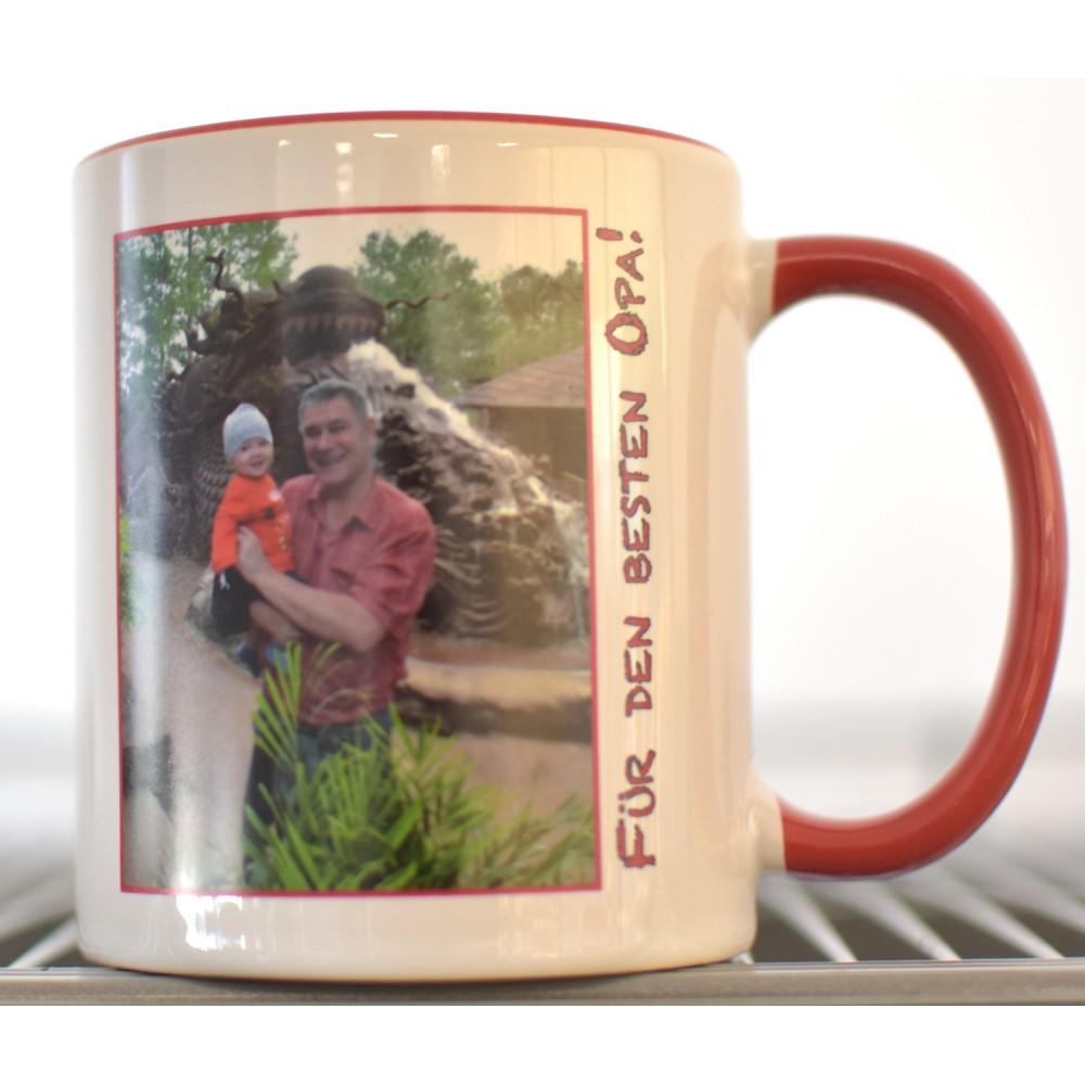 Kaffeetasse mit Foto und Text