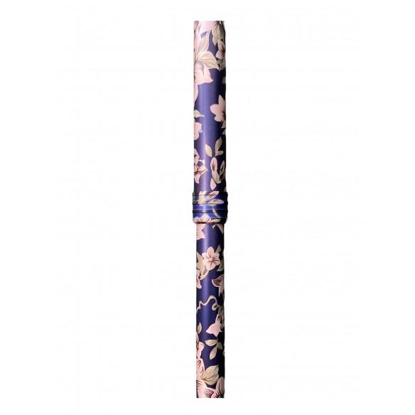 Gehstock mit Silikon-Komfortgriff, Blumen-blau